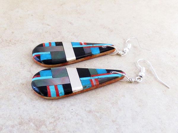 Image 1 of      Turquoise Jet & Sterling Silver Earrings Daniel Coriz Kewa - 4856rio