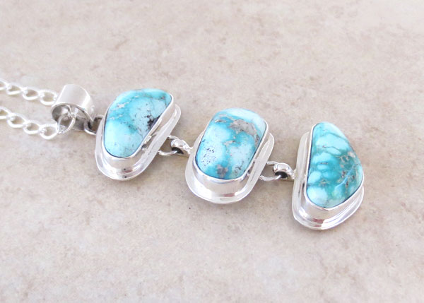 Image 2 of    Native American Jewelry Turquoise & Sterling Silver Pendant W/ Chain - 4854sn