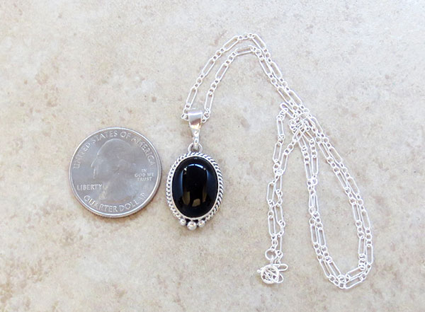 Image 1 of      Small Black Onyx & Sterling Silver Pendant w/Chain Native American - 4537sn