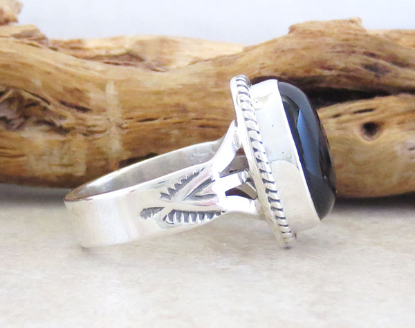 Image 2 of Black Onyx & Sterling Silver Ring Size 7 Native American Jewelry  - 4255sn