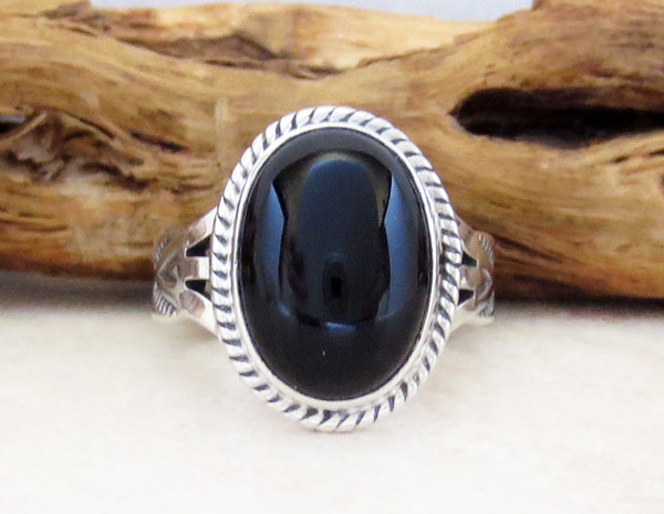 Image 0 of Black Onyx & Sterling Silver Ring Size 7 Native American Jewelry  - 4255sn