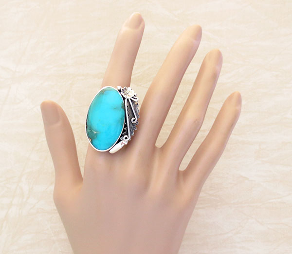 Native American Made Turquoise & Sterling Silver Ring Size 10 - 4720pl