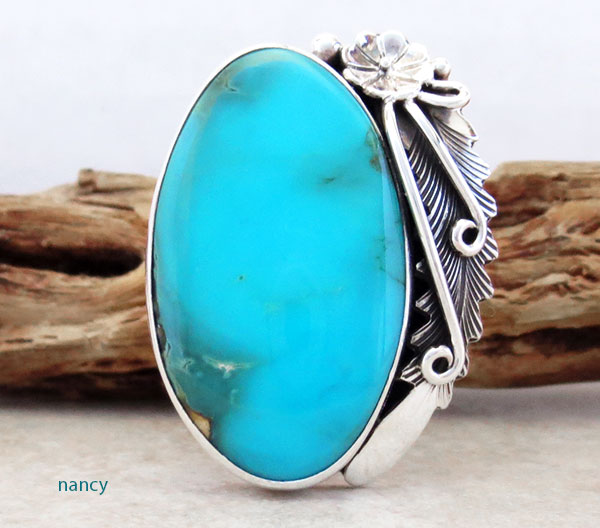 Image 1 of  Native American Made Turquoise & Sterling Silver Ring Size 10 - 4720pl