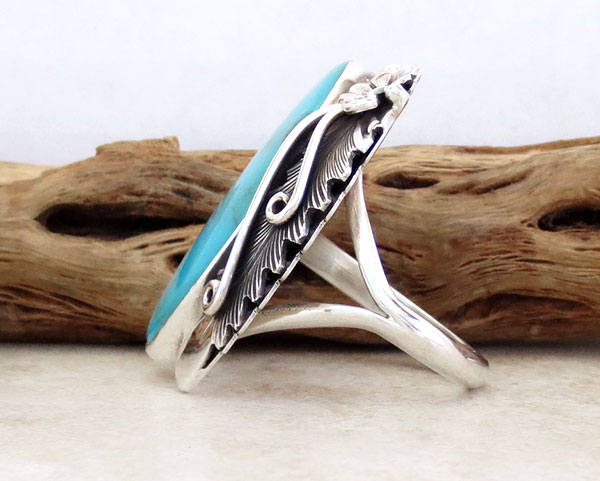 Image 2 of  Native American Made Turquoise & Sterling Silver Ring Size 10 - 4720pl