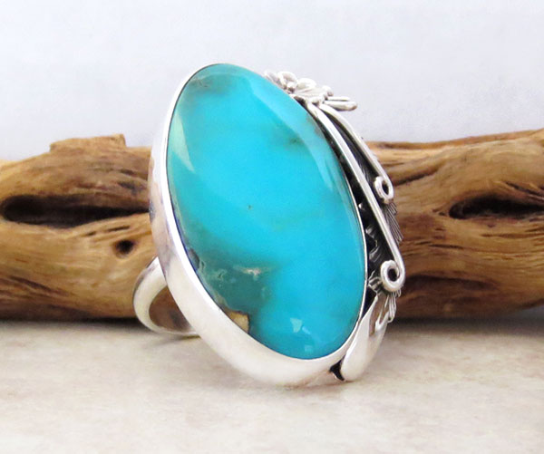 Image 3 of  Native American Made Turquoise & Sterling Silver Ring Size 10 - 4720pl