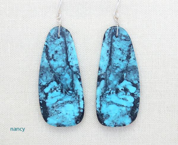 Big Blue & Black Turquoise Slab Earrings Native American Kewa Made 4221rio