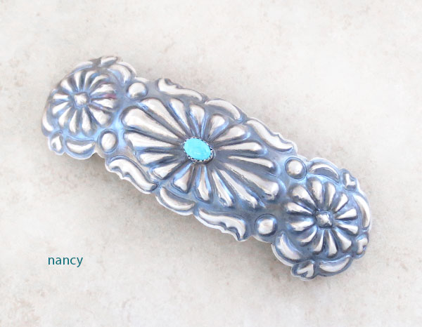 Handcrafted Repousse Sterling Silver Barrette W/ Turquoise Navajo Made - 4857rio