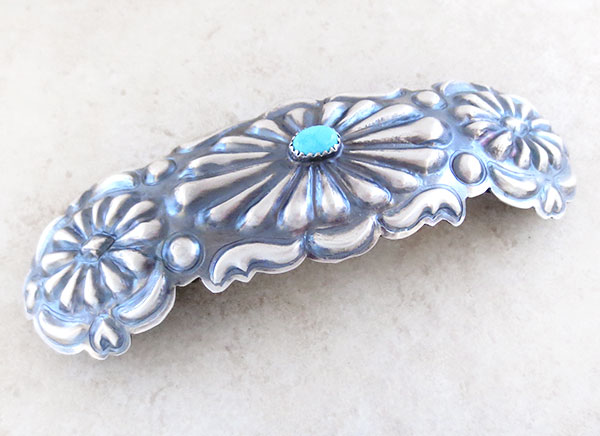 Image 1 of Handcrafted Repousse Sterling Silver Barrette W/ Turquoise Navajo Made - 4857rio