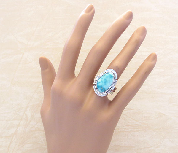 Sea Blue Turquoise & Sterling Silver Ring Size 7.75 Native American - 4178SN