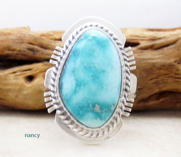 Image 1 of    Sea Blue Turquoise & Sterling Silver Ring Size 7.75 Native American - 4178SN