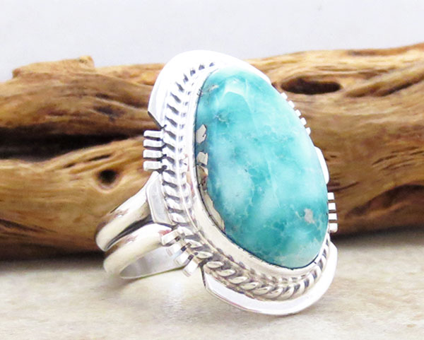 Image 3 of    Sea Blue Turquoise & Sterling Silver Ring Size 7.75 Native American - 4178SN