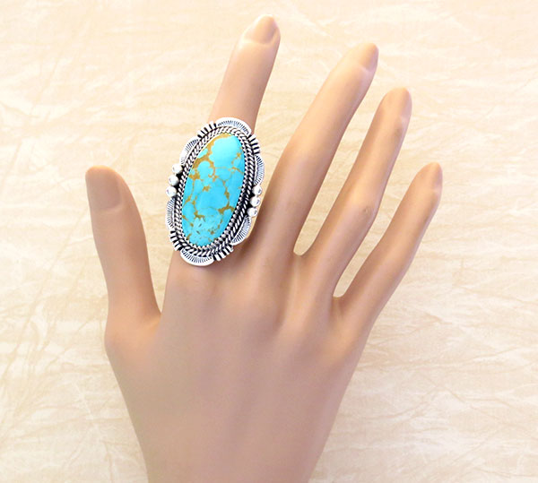 Turquoise & Sterling Silver Ring Size 10 Will Denetdale Navajo - 4853pl