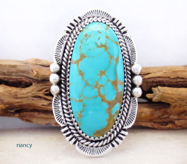 Image 1 of       Turquoise & Sterling Silver Ring Size 10 Will Denetdale Navajo - 4853pl