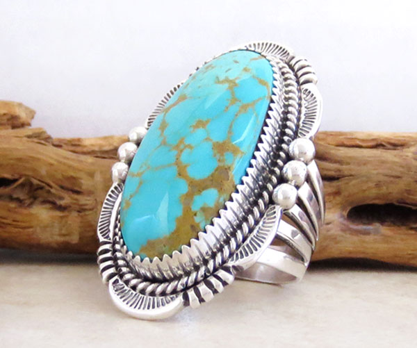 Image 3 of       Turquoise & Sterling Silver Ring Size 10 Will Denetdale Navajo - 4853pl