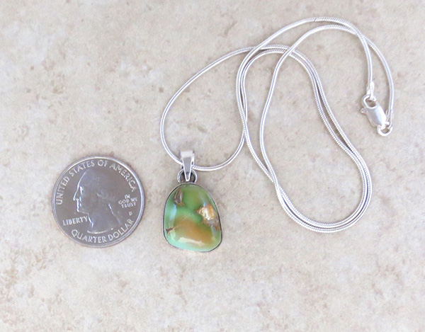 Image 1 of         Small Green Royston Turquoise & Sterling Silver Pendant Navajo - 3694rio