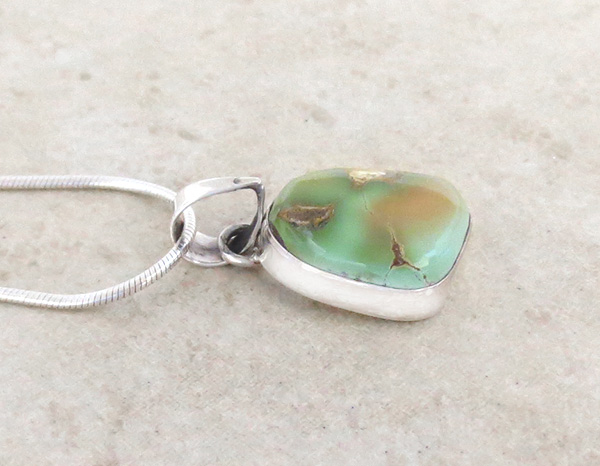 Image 2 of         Small Green Royston Turquoise & Sterling Silver Pendant Navajo - 3694rio