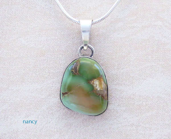 Image 0 of         Small Green Royston Turquoise & Sterling Silver Pendant Navajo - 3694rio