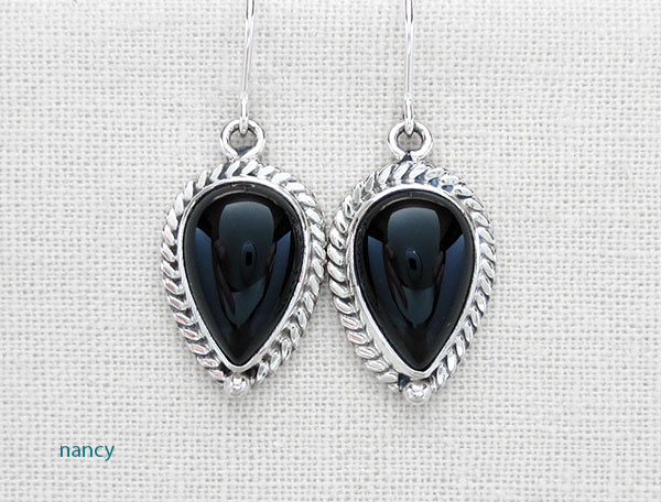Black Onyx & Sterling Silver Earrings Native American Made - 4859sn