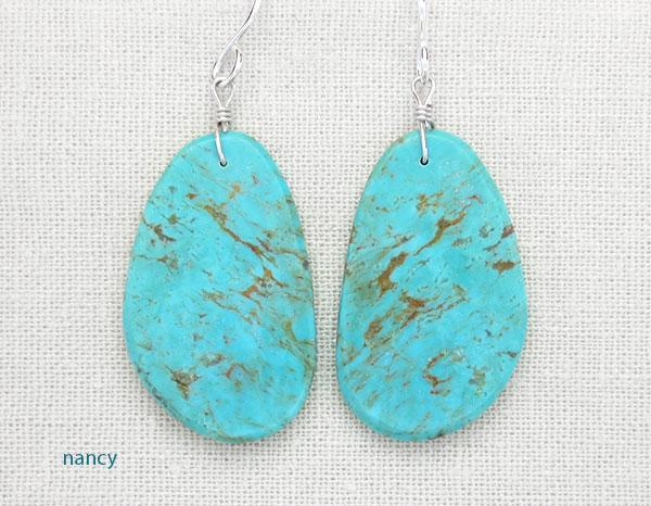 Turquoise Slab Earrings Native American Artist Ronald Chavez - 4538pl