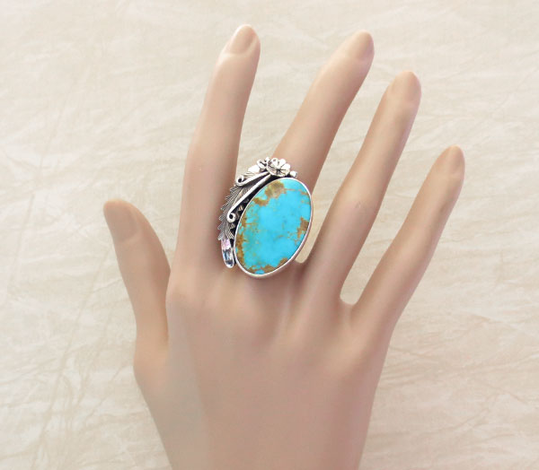 Native American Made Turquoise & Sterling Silver Ring Size 8.5 - 4860pl