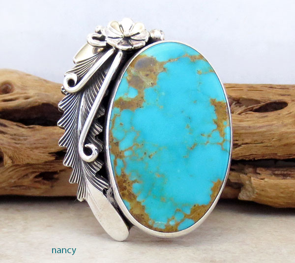 Image 1 of   Native American Made Turquoise & Sterling Silver Ring Size 8.5 - 4860pl