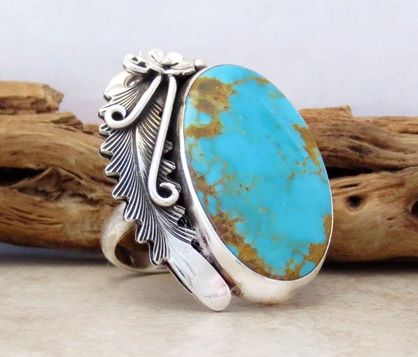 Image 3 of   Native American Made Turquoise & Sterling Silver Ring Size 8.5 - 4860pl