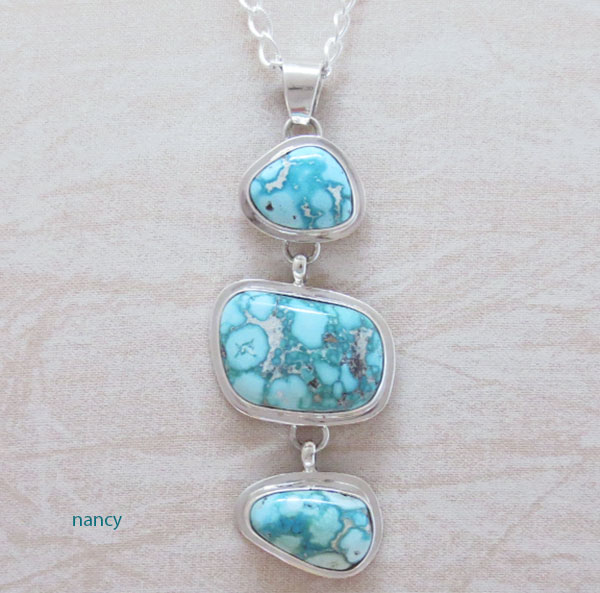 Native American Made Turquoise & Sterling Silver Pendant W/ Chain - 4621sn