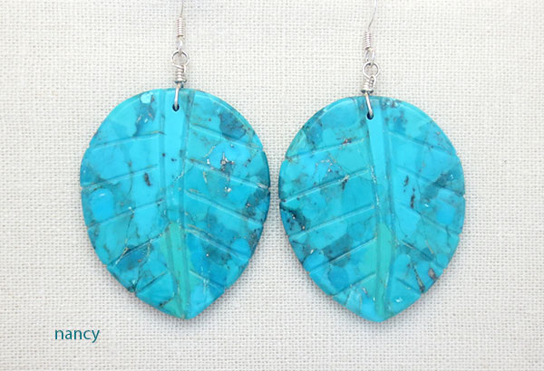 Image 0 of Carved Turquoise Slab Leaf Earrings Native American Jewelry - 4540rio
