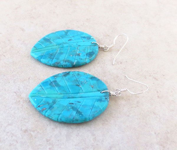 Image 1 of Carved Turquoise Slab Leaf Earrings Native American Jewelry - 4540rio