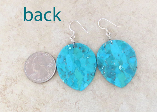 Image 2 of Carved Turquoise Slab Leaf Earrings Native American Jewelry - 4540rio