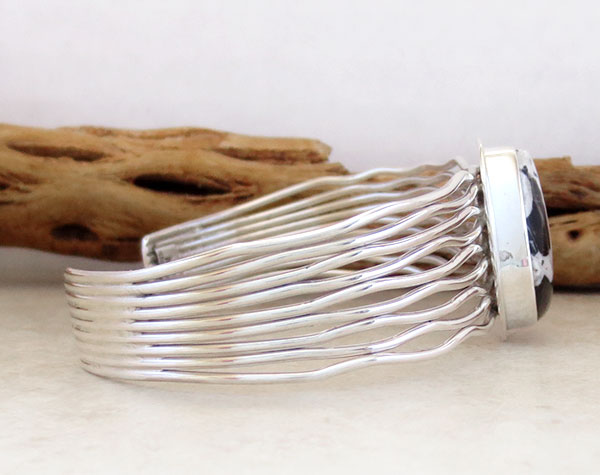 Image 2 of Native American Made White Buffalo Stone & Sterling Silver Bracelet - 4867sn