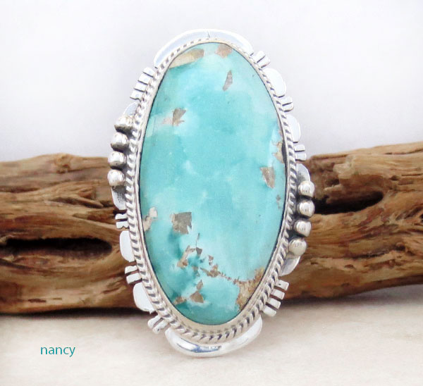 Large Turquoise & Sterling Silver Ring size 10 Native American Made - 4542sn