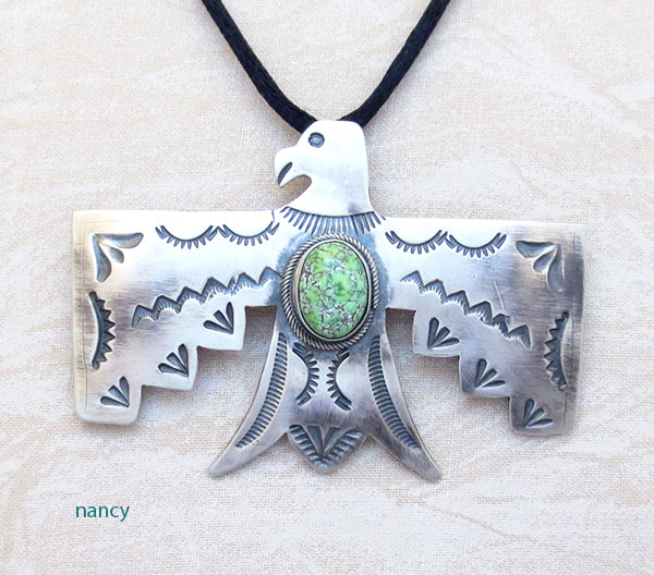 Image 0 of      Carico Lake Turquoise & Sterling Silver Thunderbird Pendant Navajo - 4865sw