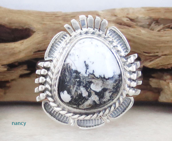 Image 0 of White Buffalo Stone & Sterling Silver Ring Size 9.5 Bennie Ration - 4861br