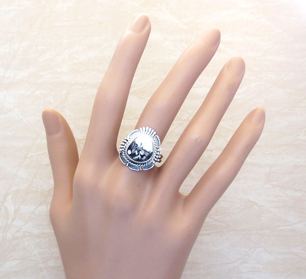 Image 1 of White Buffalo Stone & Sterling Silver Ring Size 9.5 Bennie Ration - 4861br