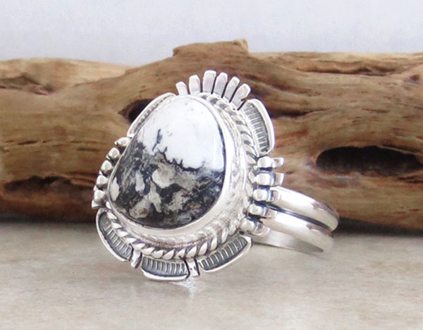 Image 3 of White Buffalo Stone & Sterling Silver Ring Size 9.5 Bennie Ration - 4861br