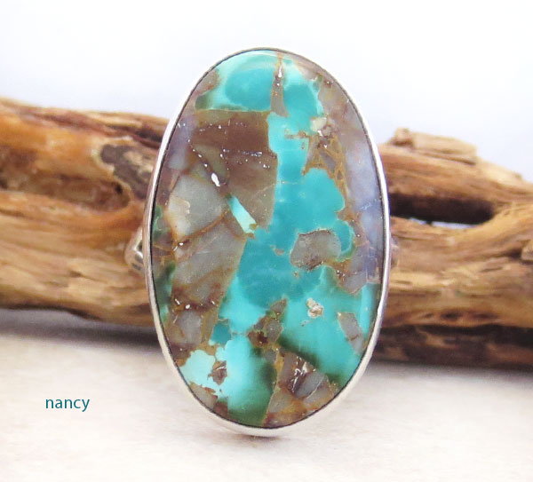 Native American Made Turquoise & Sterling Silver Ring Size 10 - 4726pl