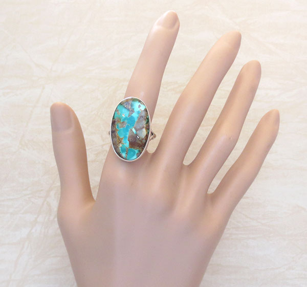 Image 1 of        Native American Jewelry Turquoise & Sterling Silver Ring Size 10 - 4726pl