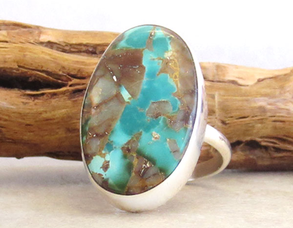 Image 3 of        Native American Jewelry Turquoise & Sterling Silver Ring Size 10 - 4726pl