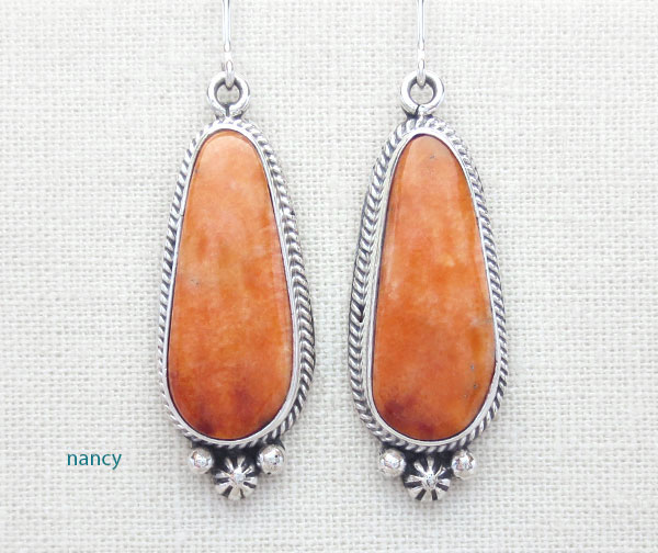 Orange Spiny Oyster & Sterling Silver Earrings Native American Made - 4863sn