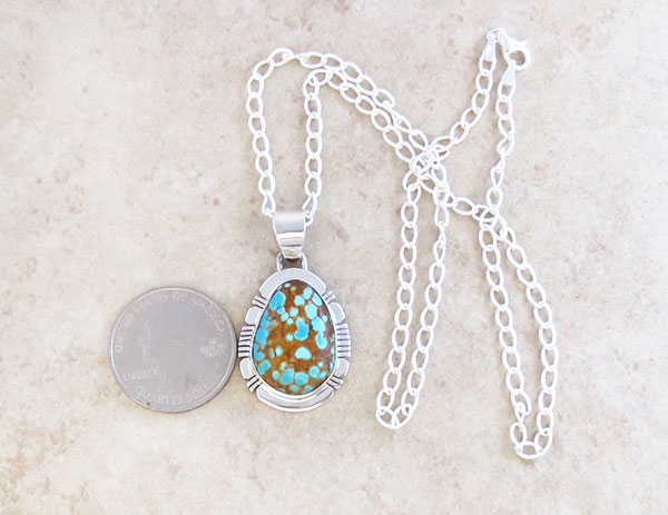 Image 1 of     Native American Jewelry #8 Mine Turquoise & Sterling Silver Pendant - 4627sn