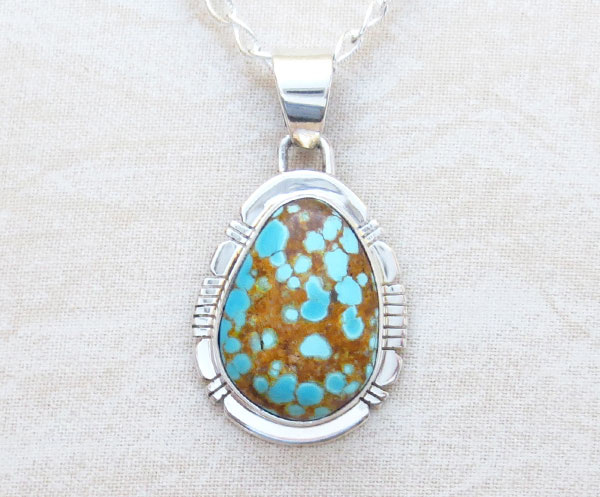 Native American Jewelry #8 Mine Turquoise & Sterling Silver Pendant - 4627sn