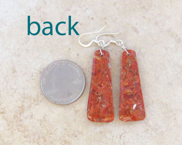 Image 2 of   Red Apple Coral Earrings Native American Made - 4869rio