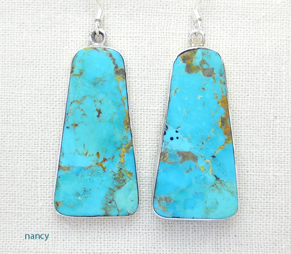Turquoise Slab & Sterling Silver Earrings Native American - 4871rio