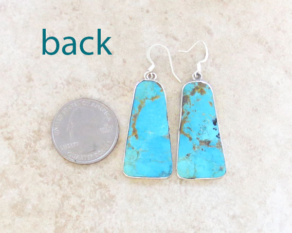Image 2 of      Turquoise Slab & Sterling Silver Earrings Native American - 4871rio
