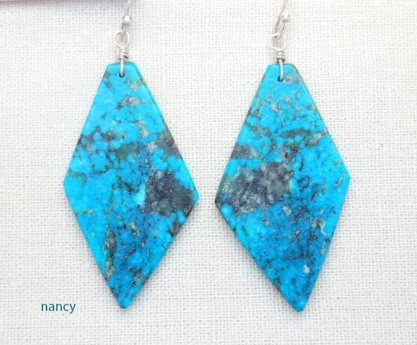 Turquoise Slab Earrings Native American Kewa Made - 4862rio