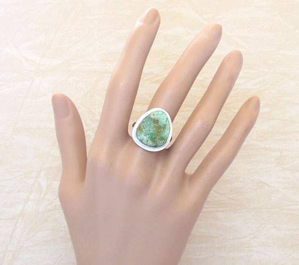 Image 0 of Emerald Valley Turquoise & Sterling Silver Ring Size 9 Navajo  Made - 2092sn