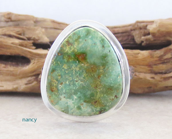 Image 1 of Emerald Valley Turquoise & Sterling Silver Ring Size 9 Navajo  Made - 2092sn