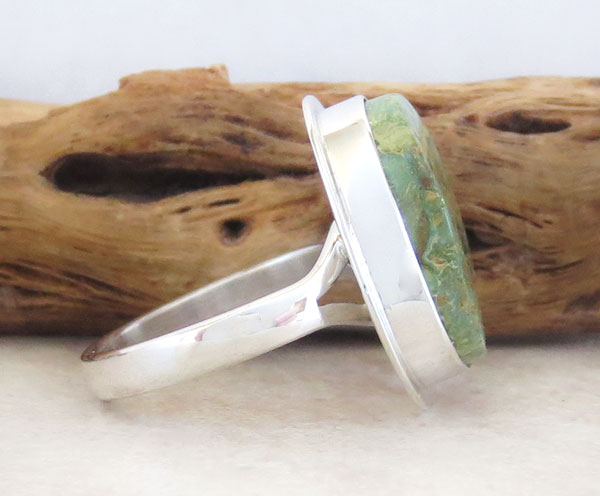 Image 2 of Emerald Valley Turquoise & Sterling Silver Ring Size 9 Navajo  Made - 2092sn