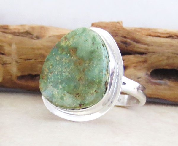 Image 3 of Emerald Valley Turquoise & Sterling Silver Ring Size 9 Navajo  Made - 2092sn